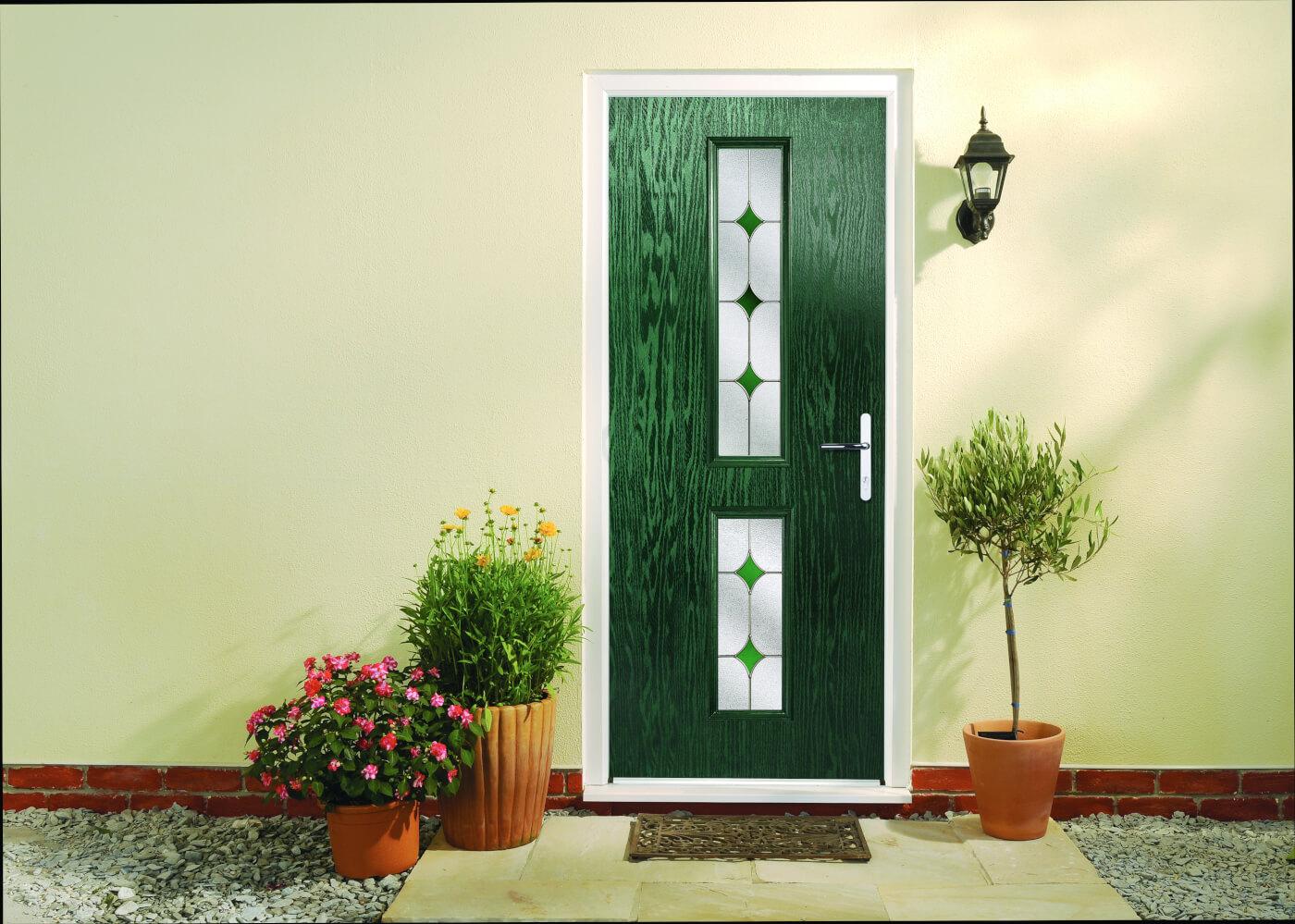 Distinction door composite door in Green