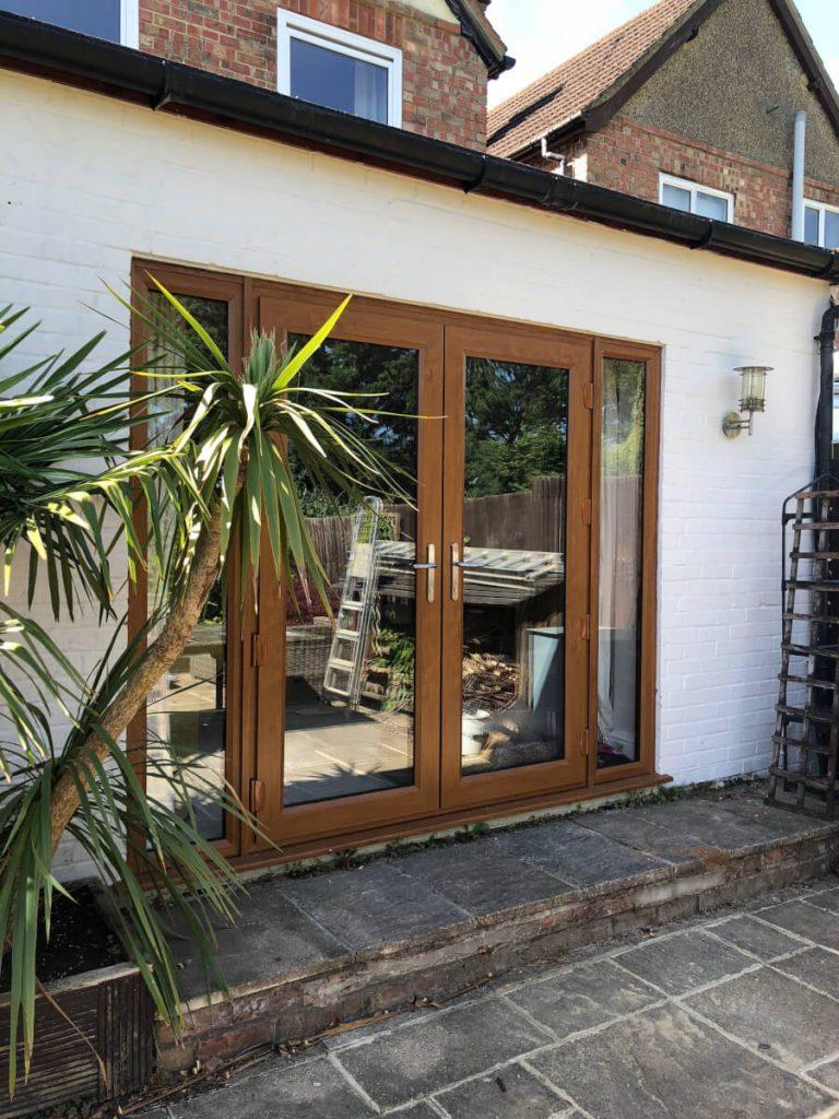 Golden Oak uPVC French doors